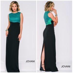 NWT Jovani Column Prom Dress Black green 6